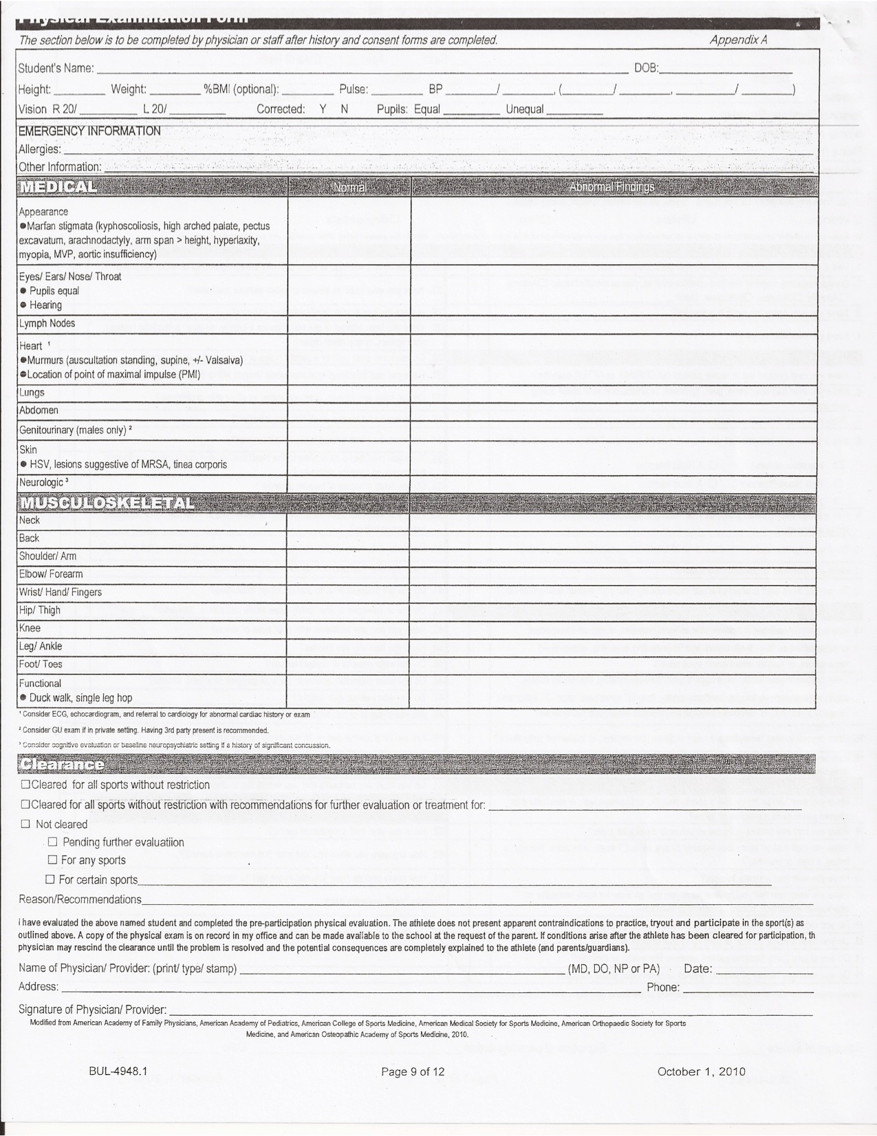 Work Physical Exam Blank Form Bing images – Physical Exam Form